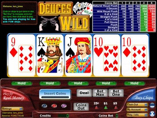 strategy video poker deuces wild